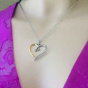 Jewelry - Genuine Diamonds Heart Shape Silver Necklace
